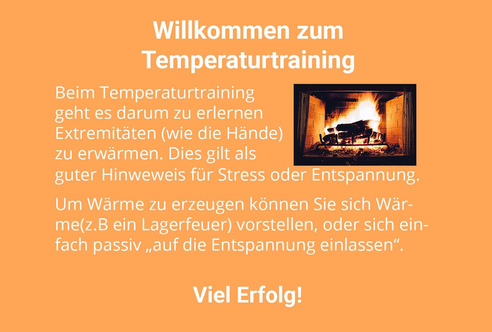 Biofeedback-Vorlage für das Temperatur-Training